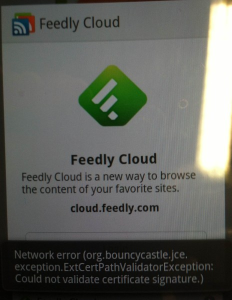 Feedly app login error